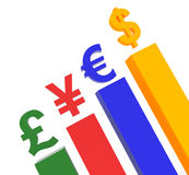 World Currency on top of podium concept graphic Stock Image