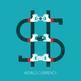 World currency vector concept in flat style Stock Images