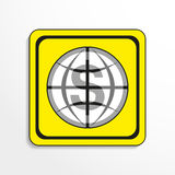 World currency. Vector icon. Black-and-white object on a yellow background. Royalty Free Stock Images