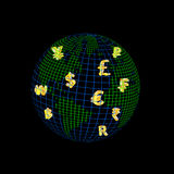 World of currency. World wire with currency symbol inside Stock Images