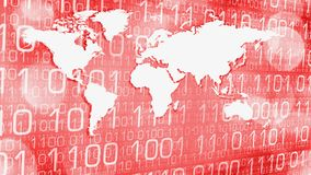 World cyber security red abstract technology concept. Computer binary code and world map Royalty Free Stock Photos