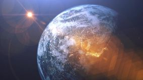 World 3D rendering. Earth video from satellite. City lights and night time, rising sun and shine. Flight over world and starry spa. Ce stock footage