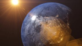 World 3D rendering. Earth video from satellite. City lights and night time, rising sun and shine. Flight over world and starry space stock video footage