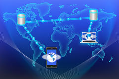 Data Exhange Technology. An image for the concept of World Data Stream illustrating how a laptop mobile computer and a mobile phone send and receive data via a Royalty Free Stock Photography