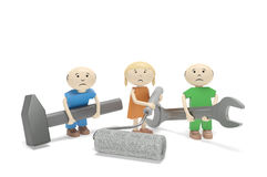World Day Against Child Labour. Children with tools. Abstract sad children with tools (wrench, hammer, paint roller) as symbol of child labour exploitation Royalty Free Stock Images