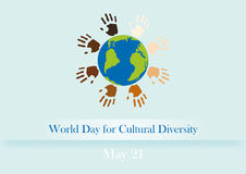 World Day for Cultural Diversity. Vector illustration Cultural Diversity Day. Background with Earth and colored hands stock illustration
