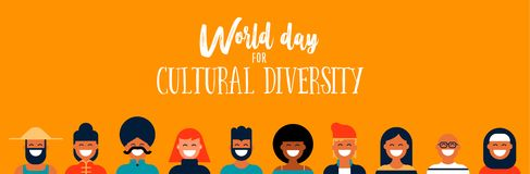 Culture Diversity Day web banner of diverse people icons vector illustration