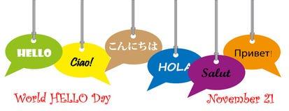 World hello day, november 10 Stock Image