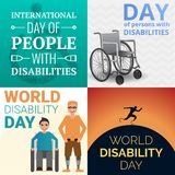 World day persons disabilities banner set, cartoon style stock illustration