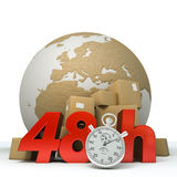 World delivery in 48 Hrs. 3D rendering of the Earth a pile of boxes and the words 48Hrs and a chronometer royalty free illustration