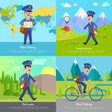 World Delivery Banner Postman. Mailman on Bicycle Royalty Free Stock Images