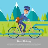 World Delivery Banner Postman. Mailman on Bicycle Stock Photos