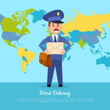 World Delivery Banner with Postman. Mailman in Suit Royalty Free Stock Photos