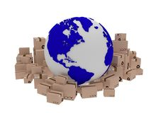 World delivery, illustration of globe icon and box arround. 3d render. World delivery, illustration of globe icon and box arround Royalty Free Stock Images