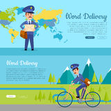 World Delivery. Set of Two Pictures with Postmen Stock Images