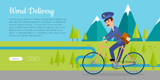 World Delivery Vector Web Banner with Postman Royalty Free Stock Photography