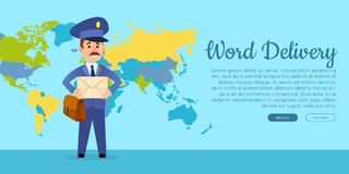 World Delivery Vector Web Banner with Postman Stock Image