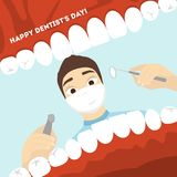 World dentist day. Man doctor looking into the mouth with teeth Royalty Free Stock Images