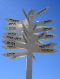 World Destination Sign Directions to Famous Places. A Sign displaying world wide destinations and their distance in Kilometers, against a clear blue sky. Mt Isa royalty free stock photography