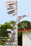 World destination signs on a signpost in Neiafu, Tonga Stock Photos
