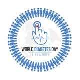 World Diabetes Day Awareness with blue Human icon circle and  Blood drop on hand for blood sugar level and  Wave pulse sign on map. World vector design Royalty Free Stock Images