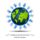 World diabetes day awareness with hand circling the earth Stock Images