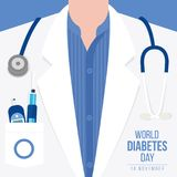 World Diabetes Day Awareness with meter measures for blood sugar level and stethoscope on Doctor`s gown vector illustration desig. N Royalty Free Stock Photo
