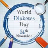 World diabetes day banner with pencil and colored pencil concept Royalty Free Stock Photo