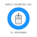 World diabetes day. Device for measuring the blood sugar level. Royalty Free Stock Image