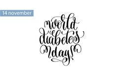World diabetes day hand lettering inscription to 14 november. Holiday design, calligraphy vector illustration stock illustration