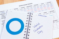 World diabetes day in notebook, results of measurement of sugar Royalty Free Stock Photos