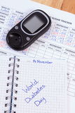 World diabetes day in notebook, results of measurement of sugar Royalty Free Stock Images
