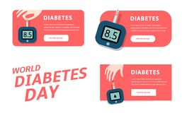 World diabetes day, vector infographics template for web. Vector illustrations for pharmaceutical industry and people. With diabetes Royalty Free Stock Photos