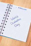 World diabetes day written in notebook Royalty Free Stock Photos