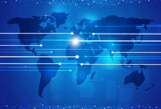World Digital Connections Blue Background Stock Images