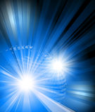 101 World digital design on black background and bursting front  lines. 101 planet earth global icon with exploding blue and bright beams for strong impact Stock Photography
