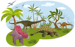 World of dinosaurs vector illustration