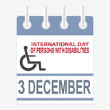 World Disabilities day. International Day of Persons with Disabilities. December 3. Calendar sheet Stock Photo