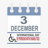 World Disabilities day. International Day of Persons with Disabilities. December 3. Calendar sheet Royalty Free Stock Images