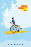World Disabilities day. Man in wheelchair floats on Board for su. Rfing. Disabled in  protective suit surf on crest of wave in ocean. Yes, you can. Poster for Royalty Free Stock Photography
