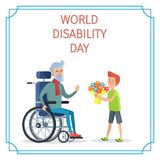 World Disability Day Boy Presents Bouquet of Flowers. To his grandfather on wheelchair vector illustration on white background Stock Photos
