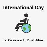 World Disability Day. Flat design on calendar page,  illustration. Vector illustration Royalty Free Stock Photos