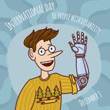 World disability day man prosthesis hand concept background, hand drawn style vector illustration