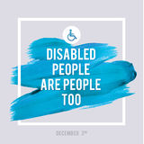 World Disability Day Typography Watercolor Brush Stroke Design , vector illustration. Grunge Effect Important Poster. Stock Photography