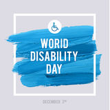 World Disability Day Typography Watercolor Brush Stroke Design , vector illustration. Grunge Effect Important Poster. World Disability Day Typography Watercolor Stock Images