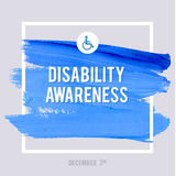 World Disability Day Typography Watercolor Brush Stroke Design , vector illustration. Grunge Effect Important Poster. Royalty Free Stock Images