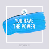 World Disability Day Typography Watercolor Brush Stroke Design , vector illustration. Grunge Effect Important Poster. Stock Photo