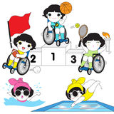 World Disabled Sports Character illustration set Royalty Free Stock Photos