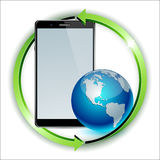 World distribution smartphone concept. Royalty Free Stock Images