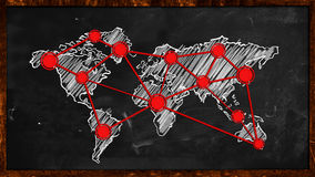 World Dot Red Connection on Blackboard. Digital Drawing Stock Image